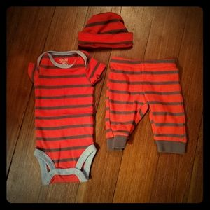 Child of Mine red stripe outfit with hat